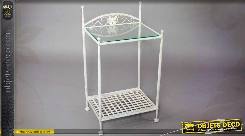 table de chevet blanche style fer forge avec plateau verre