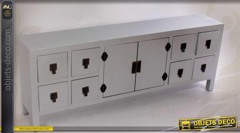 meuble tv argente style japonais avec 8 tiroirs et 2 portes