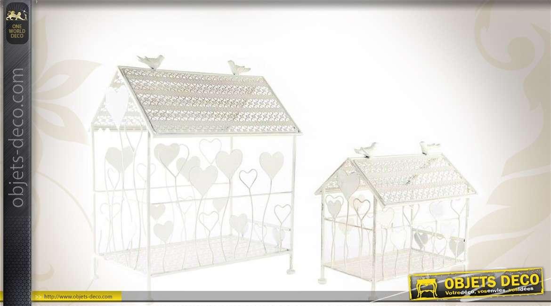 Srie De 2 Cages Oiseaux Blanches En Forme De Maisonnettes