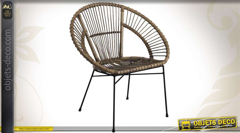 fauteuil rond en metal et en rotin gris