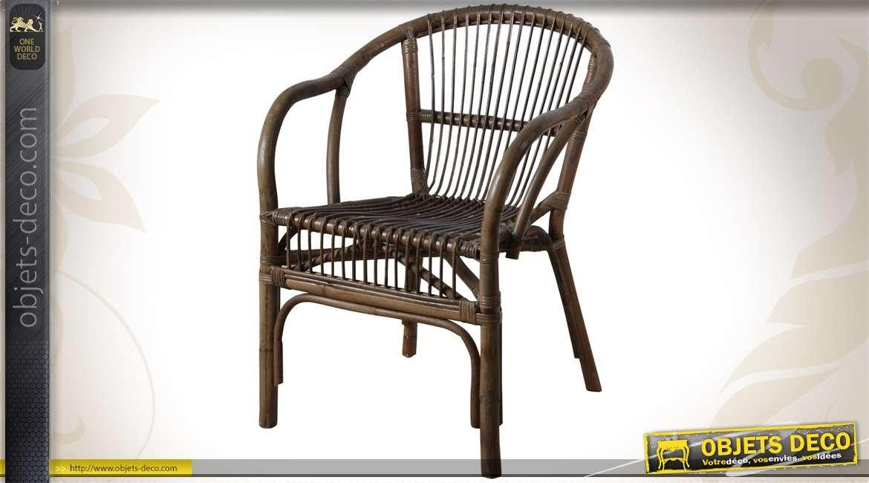 fauteuil en manau et rotin gris de style campagne