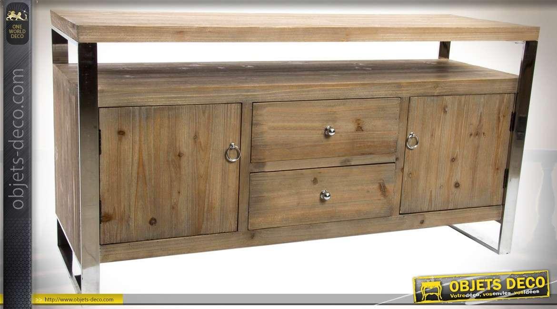 meuble tv contemporain bois et inox 2 portes 2 tiroirs