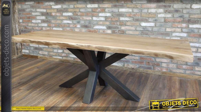 table en acacia massif ancien avec pied en etoile en metal noir 200 cm