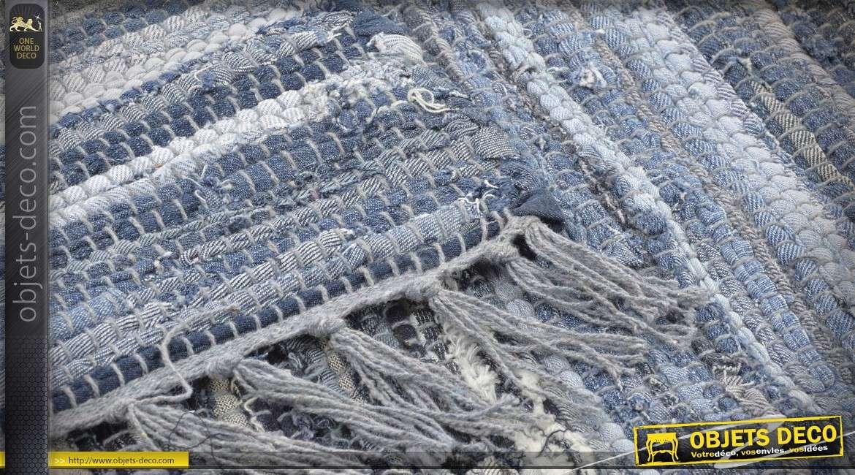 grand tapis 230 x 160 en coton lirette jean en teintes de bleus variees