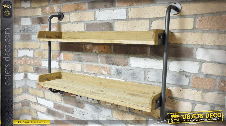 etagere murale en bois et metal a deux tablettes de style industriel 98 cm