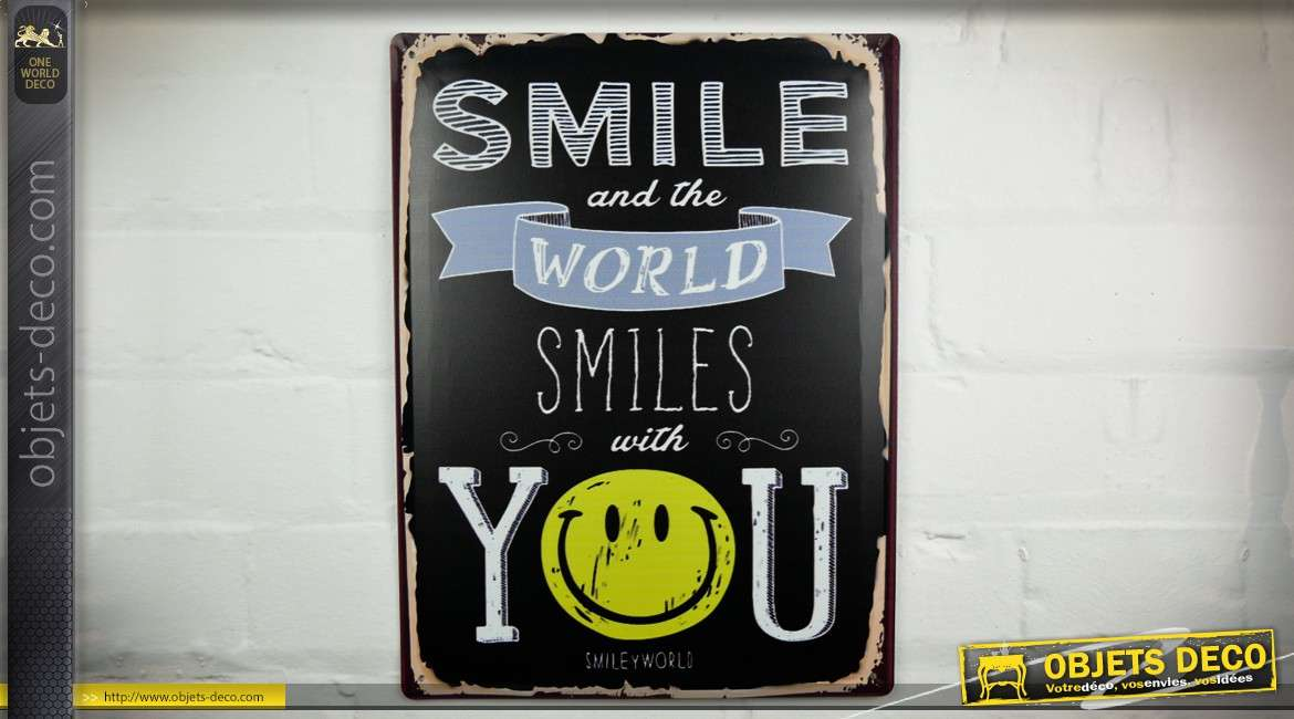 plaque deco murale vintage en metal smile and the world smiles with you