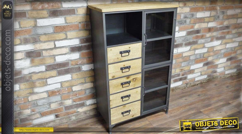meuble vitrine et chiffonnier de style industriel en bois et metal 130 cm