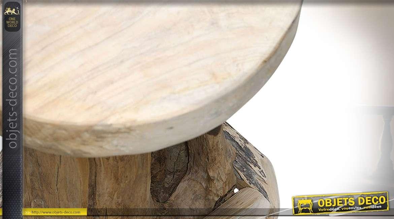 https www objets deco com fr boutique fiche tabouret table bar avec 4 tabourets en racine de teck brut sculpte a la main 27746 html