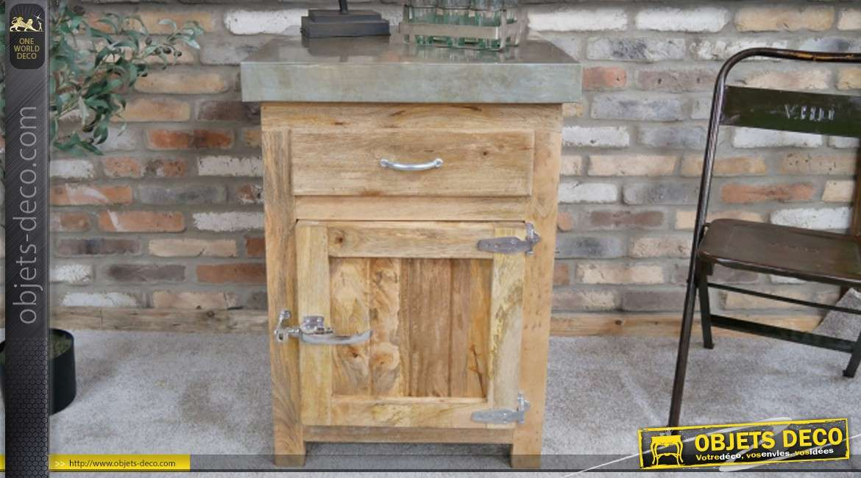 meuble bas en bois de manguier une porte avec poignee d ancien frigo style vintage