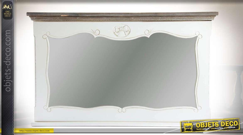 miroir mural horizontal retro blanc antique avec corniche bois ancien 105 cm
