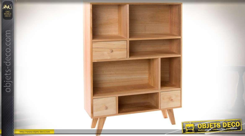 armoire bibliotheque de style vintage et scandinave en bois naturel 104 5 cm