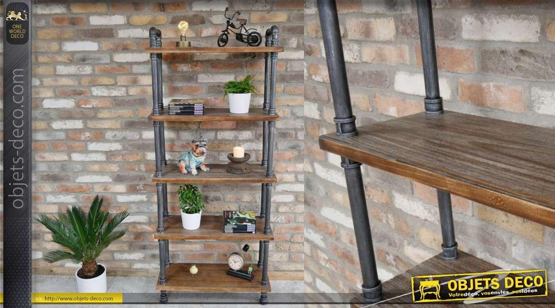 bibliotheque en bois et metal style ancienne plomberie esprit industriel