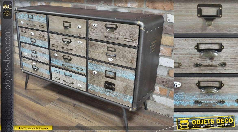 meuble de metier en bois et metal esprit industriel 11 tiroirs aux facades vintage