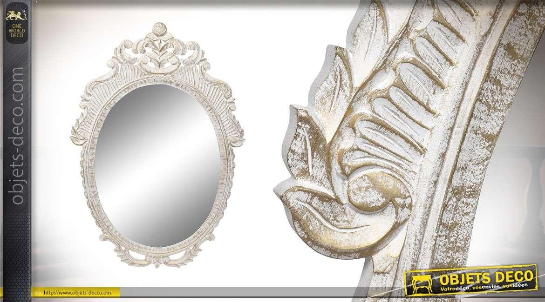 grand miroir ovale de style baroque en bois sculpte finition blanc ancien 120cm