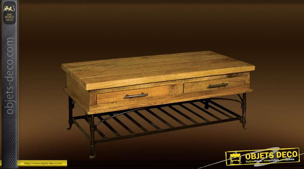 table basse rustique bois et fer forge