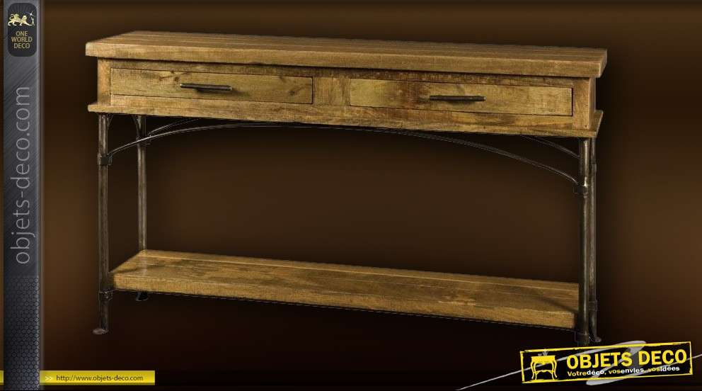 console rustique bois et fer forge