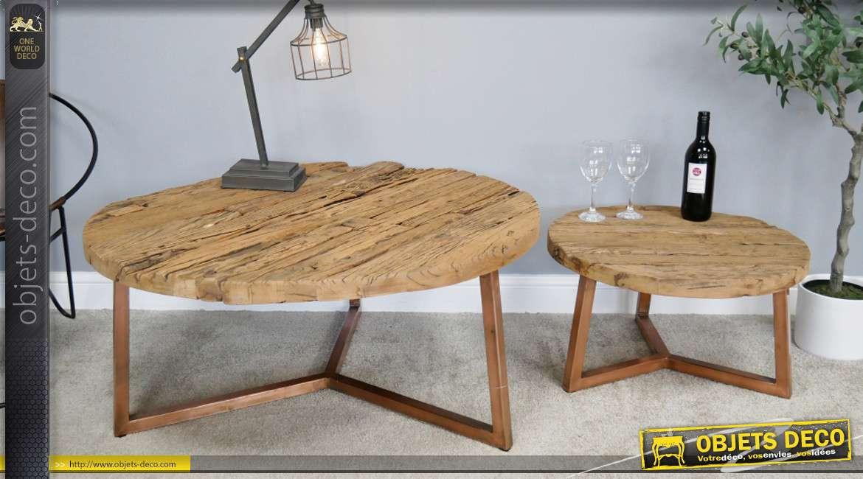 serie de deux tables basses en bois d anciennes traverses de chemin de fer style rustico epure pieds effet cuivre o100cm