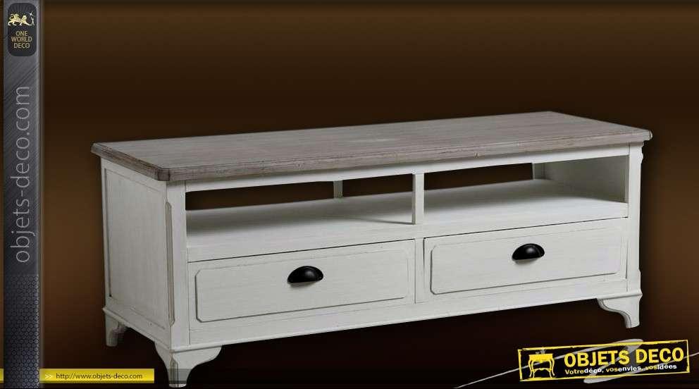 meuble tv patine bicolore avec deux tiroirs