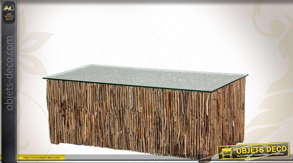 table basse rectangulaire en verre et bois flotte