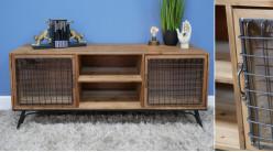 meuble tv en bois et metal style ancienne ferme ambiance rustique ancien clapier 135cm de long