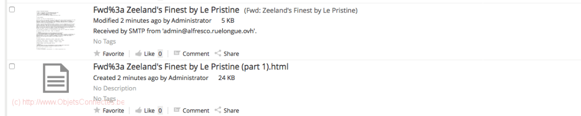 Alfresco email Pristine 1