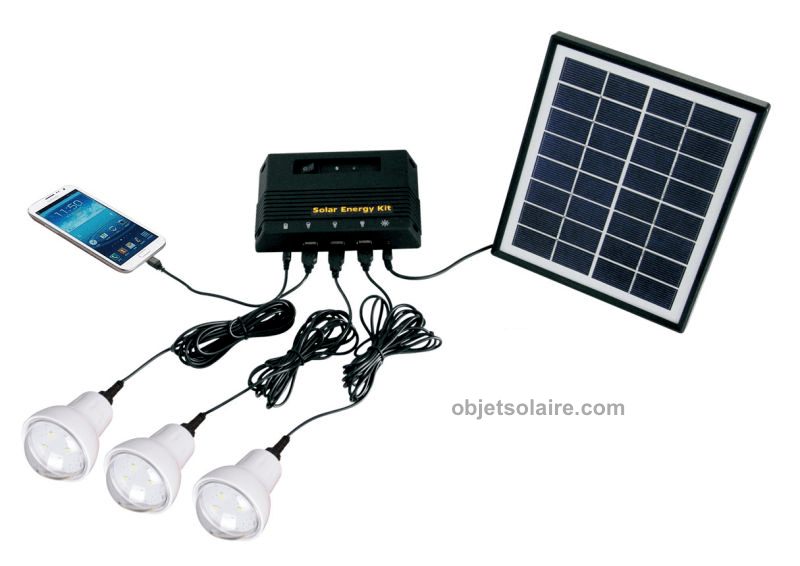 Kit DEclairage Solaire 4 W 3 Lampes Led Kit Eclairage