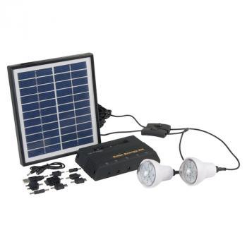 kit d eclairage solaire panneau 4w 2 lampes led