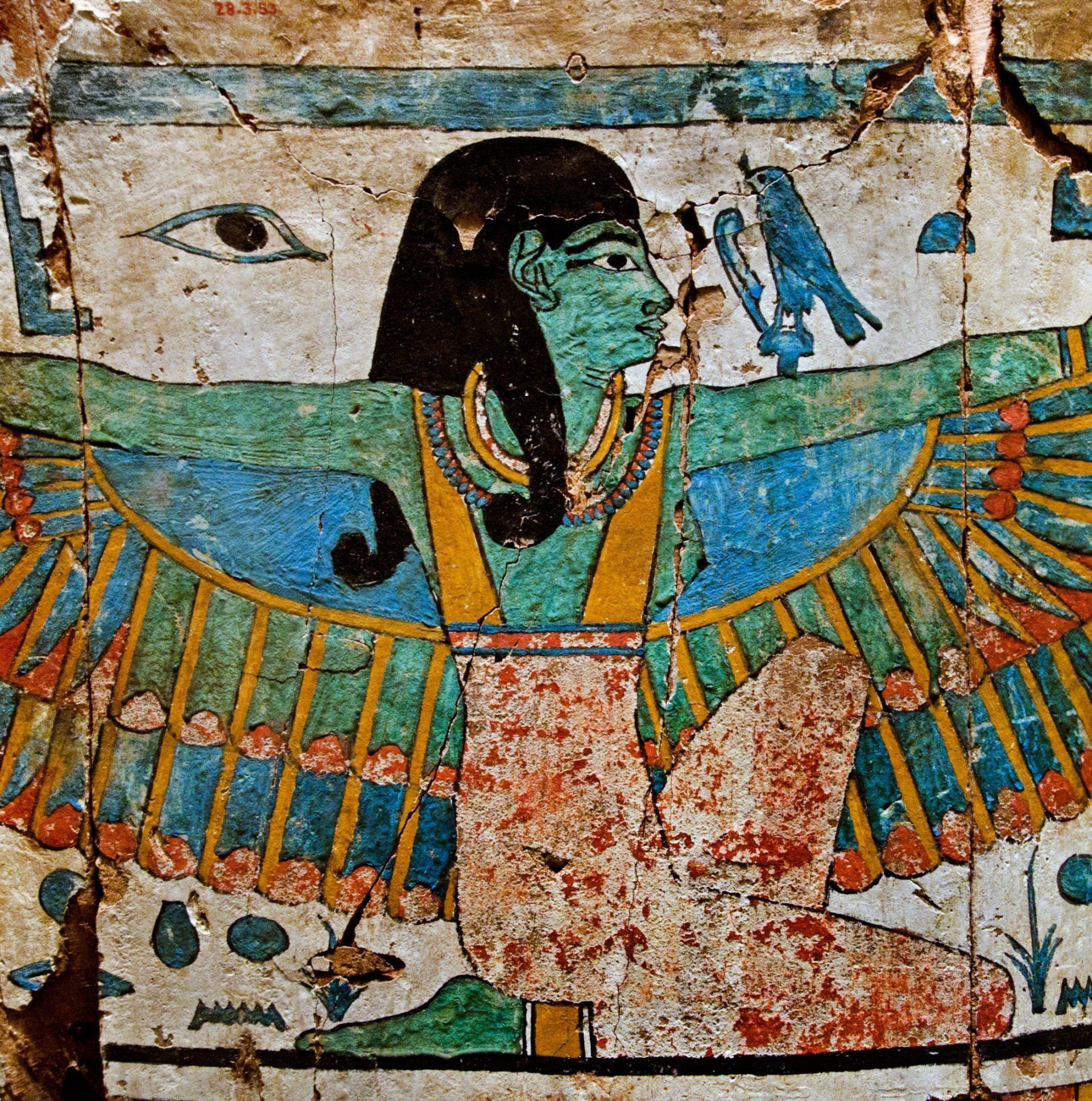 CY2FJ0 Coffin end Kushite Dynasty 712?664 B.C. Upper Egypt Thebes el-Khokha Tomb of Aafenmut gesso paint 56 cm