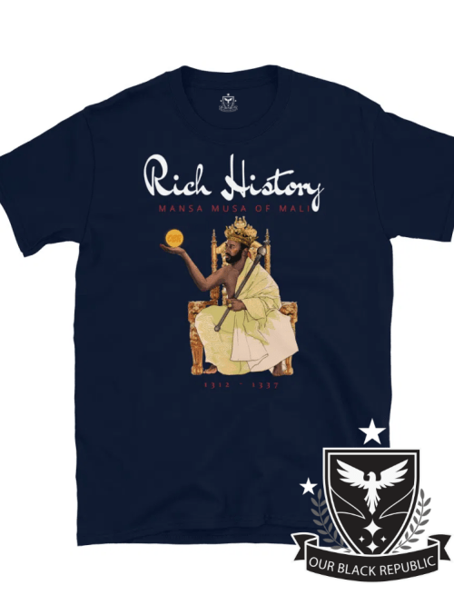 Mansa Musa of Mali navy blue shirt