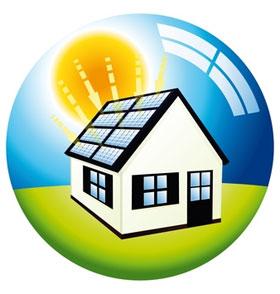 Ilustração Rio+20, cidades sustentáveis, casa com energia solar