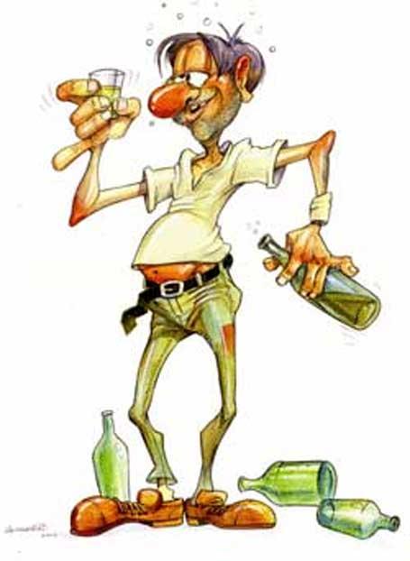 Imagem cômica ilustrando efeitos da bebida alcoólica
