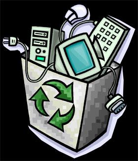 Ilustração coleta de lixo eletrônico