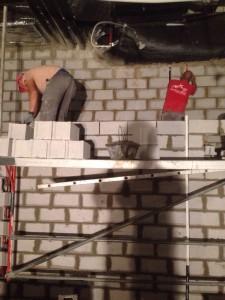 Obra de muro de bloques de hormigón