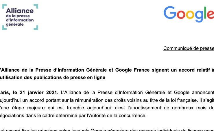 Droits voisins Google presse française