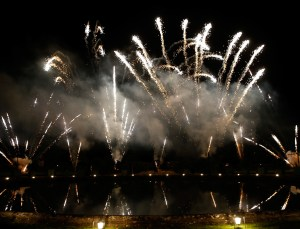 VERSAILLES, FRANCE - MAY 20:  300 guests watch an incredible firework display over the Palace of Versailles to conclude Martell Cognac's spectacular 300th anniversary celebration. On May 20, 2015 in Versailles, France.  (Photo by Bertrand Rindoff Petroff/Getty Images for Martell Cognac)