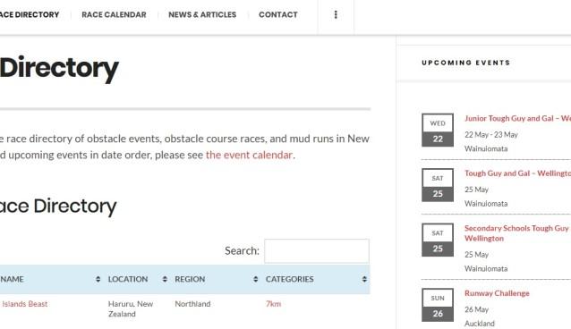 race directory screenshot