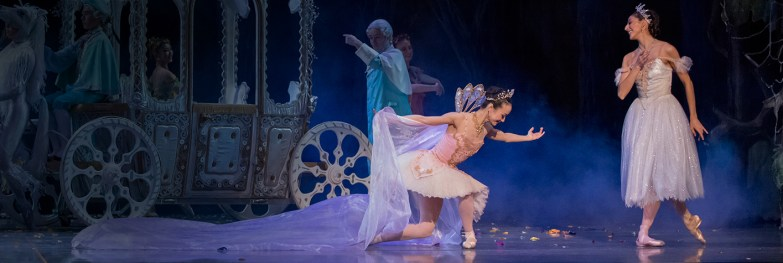 "Xuan Cheng (as Cinderella) and Martina Chavez (as the Fairy Godmother) in the company premiere of Ben Stevenson's ""Cinderella,"" running February 28 - March 7, 2015, at Portland's Keller Auditorium. Photo by Blaine Truitt Covert."