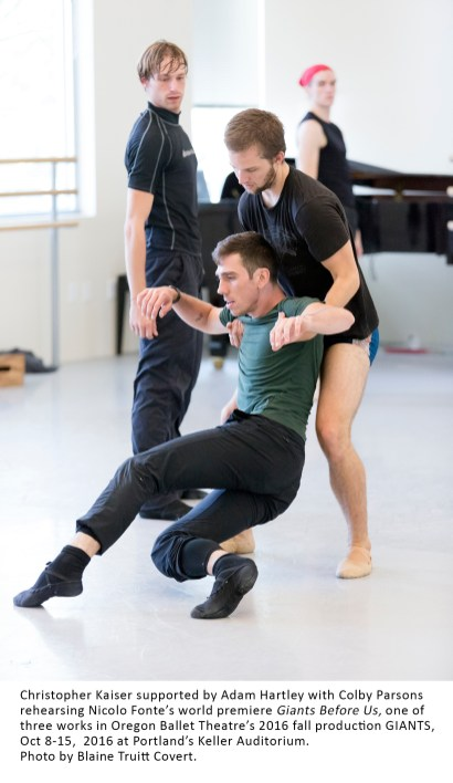 Christopher Kaiser supported by Adam Hartley with Colby Parsons rehearsing Nicolo Fonte's world premiere Giants Before Us one of the three works in Oregon Ballet Theatre's fall production GIANTS, Oct 8-15, 2016 at Portland's Keller Auditorium. Photo by Blaine Truitt Covert.