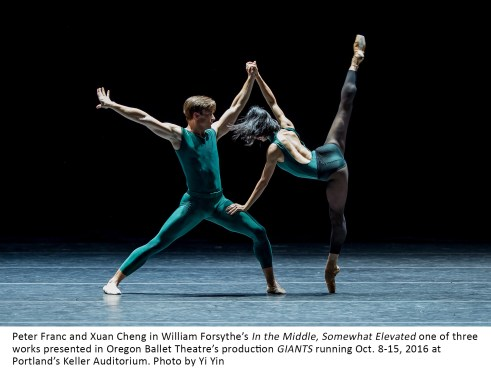 Peter Franc and Xuan Cheng in William Forsythe's In the Middle, Somewhat Elevated one of three works presented in Oregon Ballet Theatre's 2016 fall production GIANTS at Portland's Keller Auditorium. Photo by Yi Yin