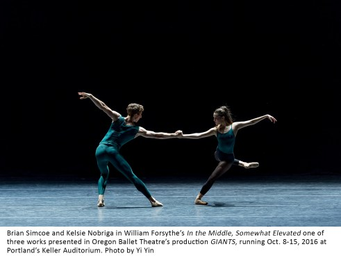 Brian Simcoe and Kelsie Nobriga in William Forsythe's In the Middle, Somewhat Elevated one of three works presented in Oregon Ballet Theatre's production GIANTS, running Oct. 8-15, 2016 at Portland's Keller Auditorium. Photo by Yi Yin
