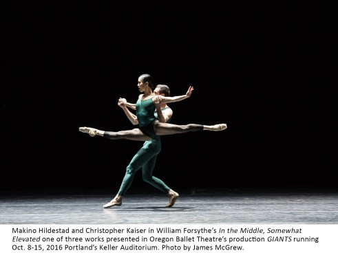Makino Hildestad and Christopher Kaiser in William Forsythe's In the Middle, Somewhat Elevated one of three works presented in Oregon Ballet Theatre's production GIANTS running Oct. 8-15, 2016 Portland's Keller Auditorium. Photo by James McGrew.