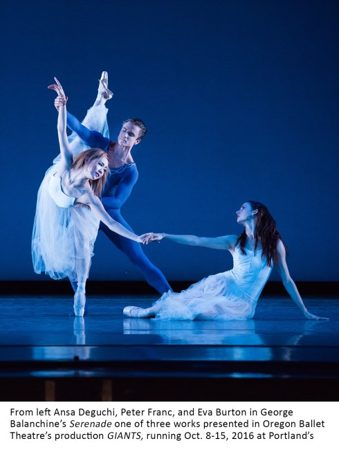 From left Ansa Deguchi, Peter Franc, and Eva Burton in George Balanchine's Serenade one of three works presented in Oregon Ballet Theatre's production GIANTS, running Oct. 8-15, 2016 at Portland's