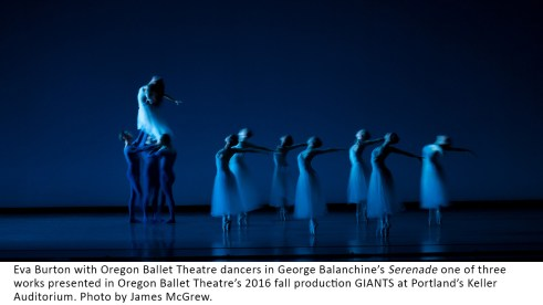 Eva Burton in George Balanchine's Serenade one of three works presented in Oregon Ballet Theatre's 2016 fall production GIANTS at Portland's Keller Auditorium.