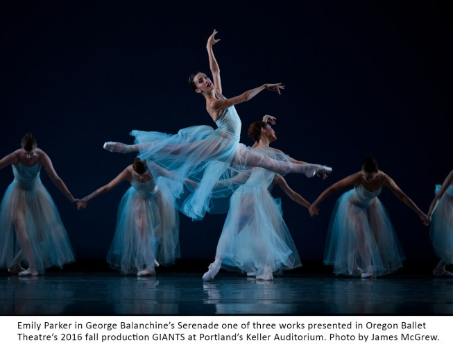 Emily Parker in George Balanchine's Serenade one of three works presented in Oregon Ballet Theatre's 2016 fall production GIANTS at Portland's Keller Auditorium.
