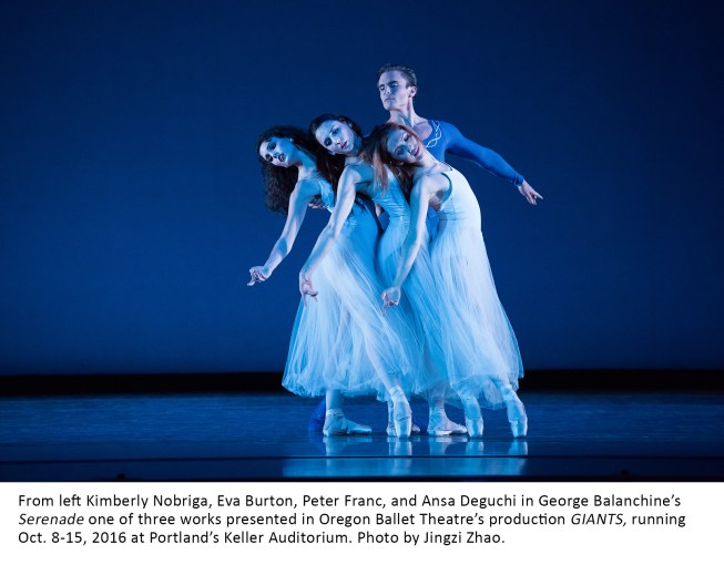 From left Kimberly Nobriga, Eva Burton, Peter Franc, and Ansa Deguchi in George Balanchine's Serenade one of three works presented in Oregon Ballet Theatre's production GIANTS, running Oct. 8-15, 2016 at Portland's Keller Auditorium. Photo by Jingzi Zhao.