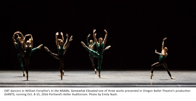 OBT dancers in William Forsythe's In the Middle, Somewhat Elevated one of three works presented in Oregon Ballet Theatre's production GIANTS, running Oct. 8-15, 2016 Portland's Keller Auditorium. Photo by Emily Nash.