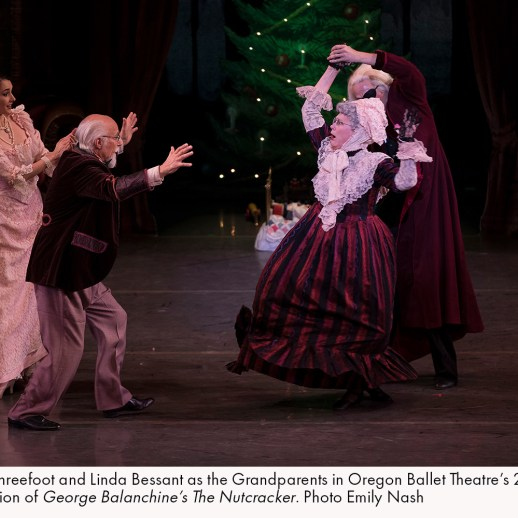David Threefoot and Linda Besant as the Grandparents in Oregon Ballet Theatre's 2017 production of George Balanchine's The Nutcracker. Photo Emily Nash