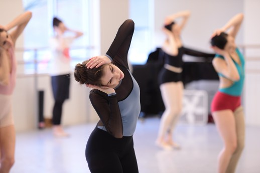 Kelsie Nobriga and OBT dancers rehearsing Jiří Kylián's Falling Angels, one of five ballets presented in Oregon Ballet Theatre's MAN/WOMAN, April 12 - 24, 2018 at the Newmark Theatre. Photo by Yi Yin.