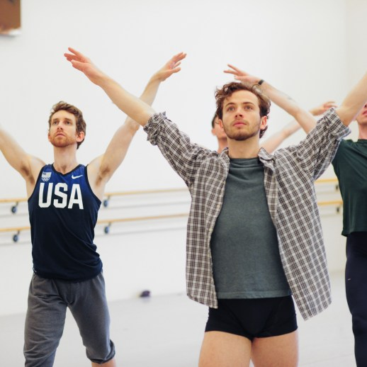 OBT dancers Brian Simcoe, Avery Reiners, and Christopher Kaiser rehearsing James Canfield's Drifted in a Deeper Land, one of five ballets presented in Oregon Ballet Theatre's MAN/WOMAN, April 12 - 24, 2018 at the Newmark Theatre. Photo by Yi Yin.