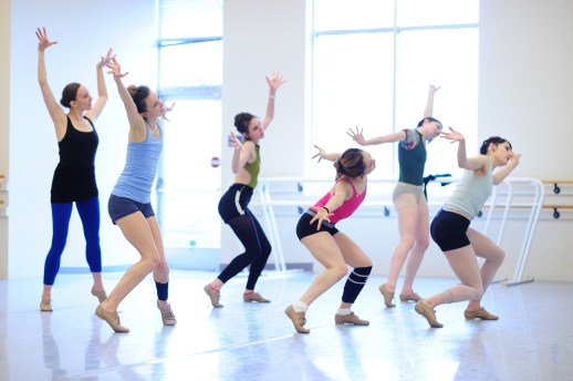 OBT dancers rehearsing Jiří Kylián's Falling Angels, one of five ballets presented in Oregon Ballet Theatre's MAN/WOMAN, April 12 - 24, 2018 at the Newmark Theatre. Photo by Yi Yin.
